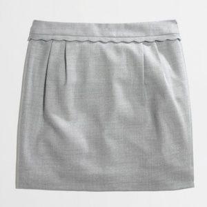 J. Crew Wool Scallop-Trim Mini Skirt in Gray
